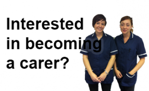 interested in becoming a carer? Image of two carers and links to our recruitment page